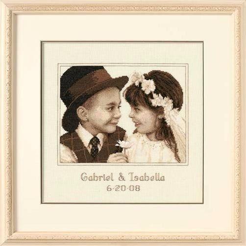 """35192 • Набор для вышивания крестом """"Первая любовь"""" • """"First Love Wedding Record"""" DIMENSIONS"""