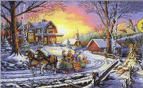 """35208 • Набор для вышивания крестом """"Удовольствие от зимы"""" • """"Pleasures of Winter"""" DIMENSIONS Gold Collection"""