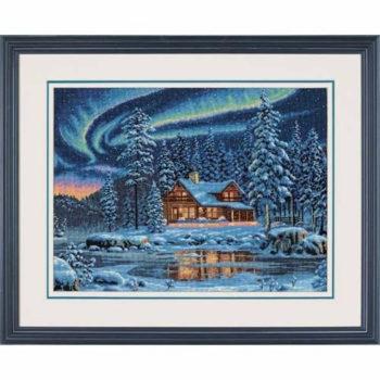 """35212 • Набор для вышивания крестом """"Северное сияние"""" • """"Aurora Cabin"""" DIMENSIONS"""