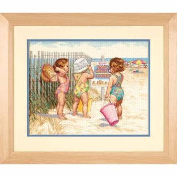 """35216 • Набор для вышивания крестом """"Девочки на пляже"""" • """"Beach Babies"""" DIMENSIONS"""