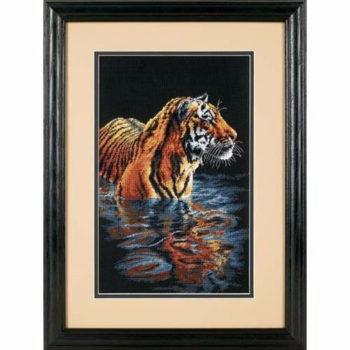 """35222 • Набор для вышивания крестом """"Спокойный тигр"""" • """"Tiger Chilling Out"""" DIMENSIONS"""
