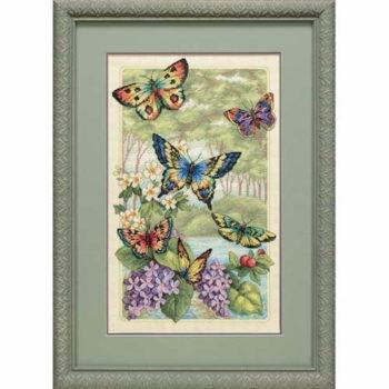 """35223 • Набор для вышивания крестом """"Бабочки в лесу"""" • """"Butterfly Forest"""" DIMENSIONS Gold Collection"""