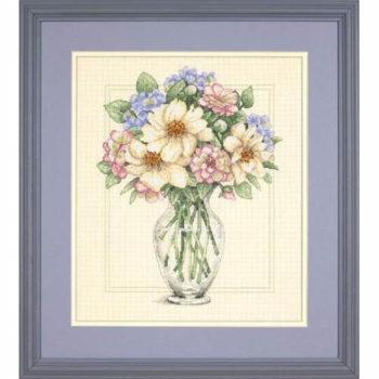 """35228 • Набор для вышивания крестом """"Цветы в высокой вазе"""" • """"Flowers in Tall Vase"""" DIMENSIONS"""