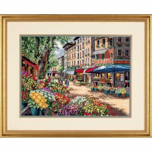 """35256 • Набор для вышивания крестом """"Рынками Парижа"""" • """"Paris Market"""" DIMENSIONS Gold Collection"""