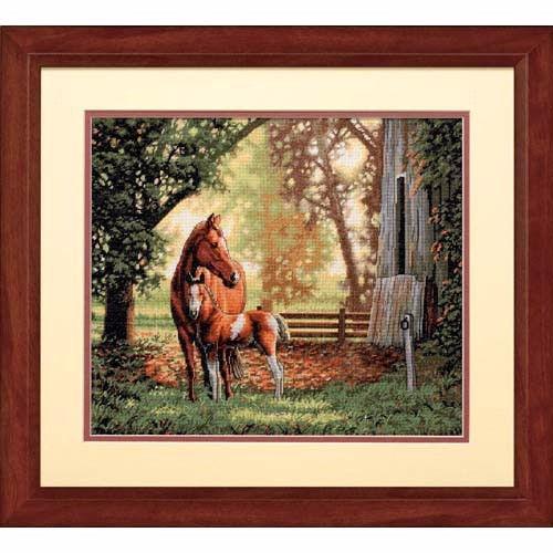 """35260 • Набор для вышивания крестом """"Кобыла с жеребёнком"""" • """"Mare and Foal"""" DIMENSIONS Gold Collection"""