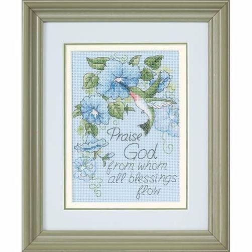 "65015 • Набор для вышивания крестом ""Колибри и ипомеи"" • ""Hummingbird and Morning Glories"" DIMENSIONS"