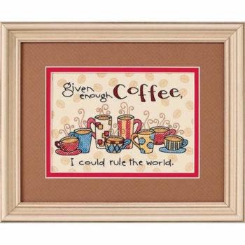 """65019 • Набор для вышивания крестом """"Достаточно кофе"""" • """"Enough Coffee"""" DIMENSIONS"""