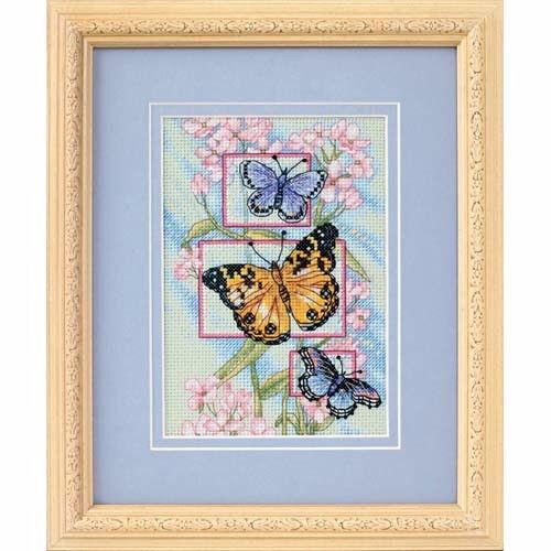 65022 Набор для вышивки крестом «Бутоны и бабочки» • «Blossoms and Butterflies» DIMENSIONS Gold Collection Petites
