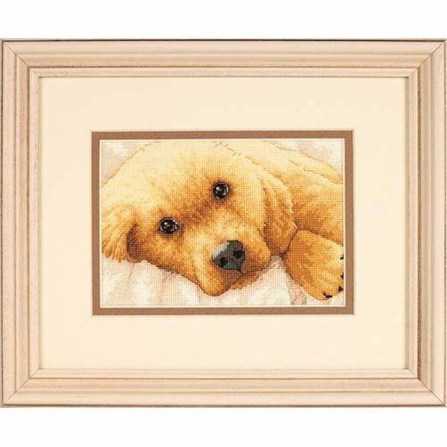 """65038 • Набор для вышивания крестом """"Золотой щенок"""" • """"Golden Puppy"""" DIMENSIONS"""