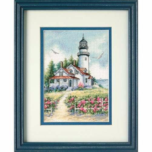 """65057 • Набор для вышивания крестом """"Живописный маяк"""" • """"Scenic Lighthouse"""" DIMENSIONS Gold Collection Petites"""