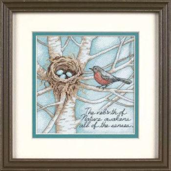 """65076 • Набор для вышивания крестом """"Гнездо малиновки"""" • """"Robin's Nest"""" DIMENSIONS Gold Collection Petites"""