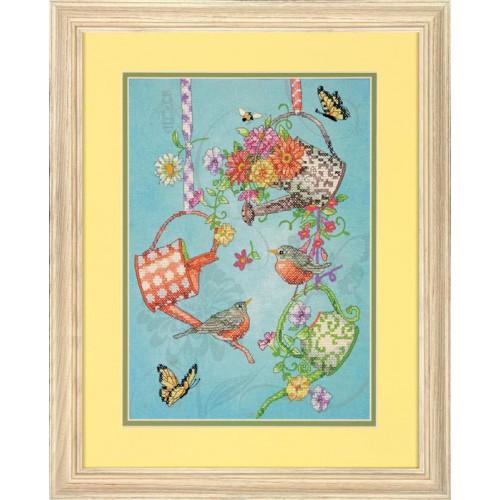 """70-03246 • Набор для вышивания крестом """"Цветущие лейки"""" • """"Blooming Watering Cans"""" DIMENSIONS"""