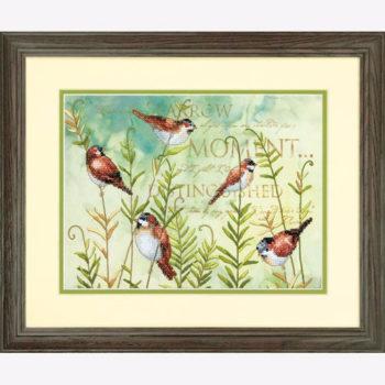 """70-03248 • Набор для вышивания крестом """"Птицы на папоротнике"""" • """"Birds on Ferns"""" DIMENSIONS"""