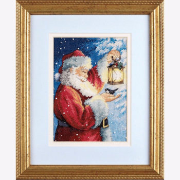 "70-08831 • Набор для вышивания крестом ""Пернатый друг Санты"" • ""Santa's Feathered Friend"" DIMENSIONS Gold Collection Petites"