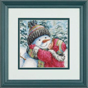 """70-08833 • Набор для вышивания крестом """"Поцелуй для снеговика"""" • """"A Kiss for Snowman"""" DIMENSIONS Gold Collection Petites"""