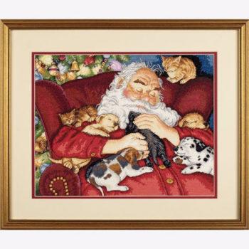 """70-08836 • Набор для вышивания крестом """"Спящий Санта"""" • """"Santa's Nap"""" DIMENSIONS Gold Collection"""