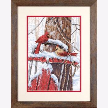 """70-08837 • Набор для вышивания крестом """"Птички-кардиналы на санках"""" • """"Cardinals on Sled"""" DIMENSIONS"""