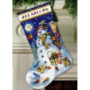 """70-08839 • Набор для вышивания крестом """"Снеговик и друзья. Чулок"""" • """"Snowman & Friends Stocking"""" DIMENSIONS"""