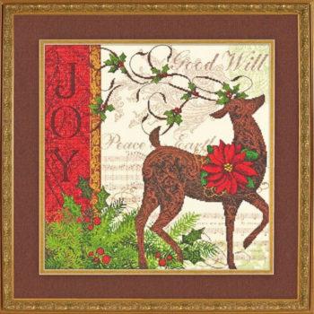 """70-08851 • Набор для вышивания крестом """"Зимний олень"""" • """"Winter Reindeer"""" DIMENSIONS"""