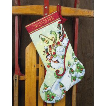 "70-08853 • Набор для вышивания крестом ""Снеговики на санях. Чулок"" • ""Sledding Snowmen Stocking"" DIMENSIONS"