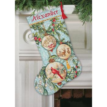 """70-08854 • Набор для вышивания крестом """"Очаровательный орнамент. Чулок"""" • """"Enchanted Ornament Stocking"""" DIMENSIONS"""