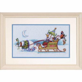 """70-08864 • Набор для вышивания крестом """"Снежный медведь и сани"""" • """"Snow Bear and Sleigh"""" DIMENSIONS"""