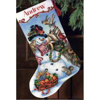 """70-08866 • Набор для вышивания крестом """"Снеговик. Чулок"""" • """"Snowman Gathering Stocking"""" DIMENSIONS"""
