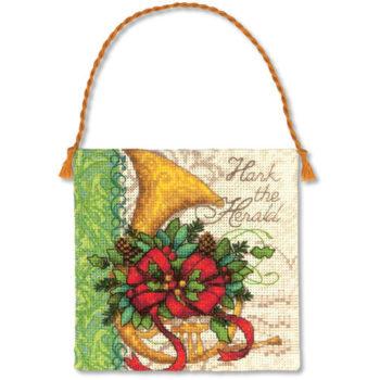 "70-08870 • Набор для вышивания крестом ""Валторн. Украшение"" • ""French Horn Ornament"" DIMENSIONS"