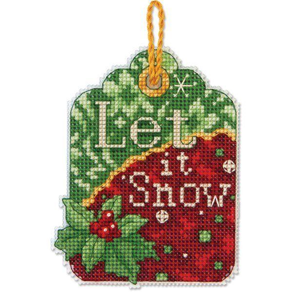 """70-08889 • Набор для вышивания крестом """"Пусть снежит. Украшение"""" • """"Let It Snow Ornament"""" DIMENSIONS"""