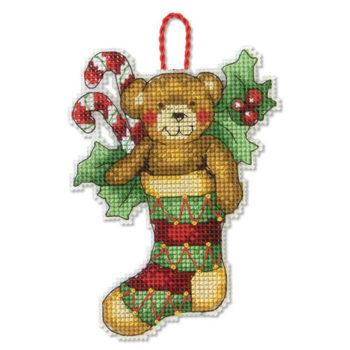 """70-08894 • Набор для вышивания крестом """"Медведь. Украшение"""" • """"Bear Ornament"""" DIMENSIONS"""