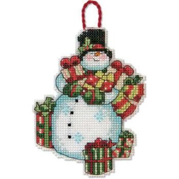 """70-08896 • Набор для вышивания крестом """"Снеговик. Украшение"""" • """"Snowman Ornament"""" DIMENSIONS"""