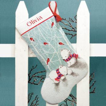 """70-08902 • Набор для вышивания крестом """"Снежные мишки. Чулок"""" • """"Snow Bears Stocking"""" DIMENSIONS"""