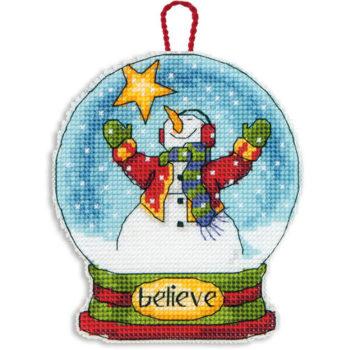 """70-08904 • Набор для вышивания крестом """"Снежный шар — Вера. Украшение"""" • """"Believe Snow Globe Ornament"""" DIMENSIONS"""