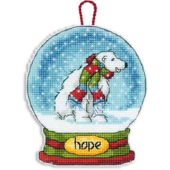 """70-08906 • Набор для вышивания крестом """"Снежный шар — Надежда. Украшение"""" • """"Hope Snow Globe Ornament"""" DIMENSIONS"""