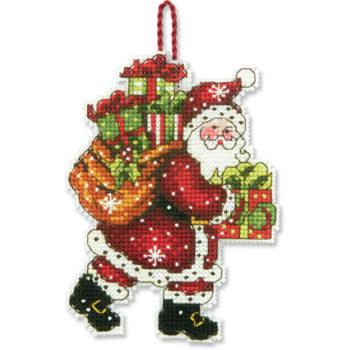 """70-08912 • Набор для вышивания крестом """"Санта с мешком. Украшение"""" • """"Santa with Bag Ornament"""" DIMENSIONS"""