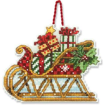 """70-08914 • Набор для вышивания крестом """"Сани. Украшение"""" • """"Sleigh Ornament"""" DIMENSIONS"""