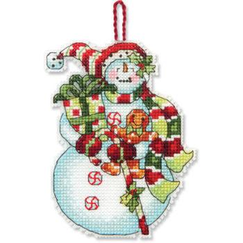 """70-08915 • Набор для вышивания крестом """"Снеговик со сладостями. Украшение"""" • """"Snowman with Sweets Ornament"""" DIMENSIONS"""