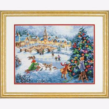 """70-08919 • Набор для вышивания крестом """"Зимние праздники"""" • """"Winter Celebration"""" DIMENSIONS Gold Collection"""