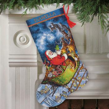 """70-08923 • Набор для вышивания крестом """"Полет Санты. Чулок"""" • """"Santa's Flight Stocking"""" DIMENSIONS"""