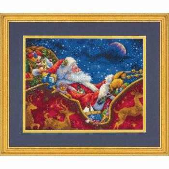 """70-08934 • Набор для вышивания крестом """"Ночная Поездка Санты"""" • """"Santa's Midnight Ride"""" DIMENSIONS Gold Collection"""