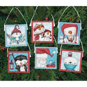 """70-08940 • Набор для вышивания крестом """"Морозные друзья. Украшения"""" • """"Frosty Friends Ornaments"""" DIMENSION"""