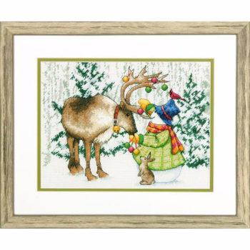 """70-08947 • Набор для вышивания крестом """"Северный олень"""" • """"Ornamental Reindeer"""" DIMENSIONS"""