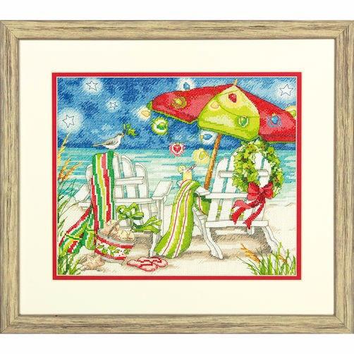 """70-08948 • Набор для вышивания крестом """"Рождественские пляжные стулья"""" • """"Christmas Beach Chairs"""" DIMENSIONS"""