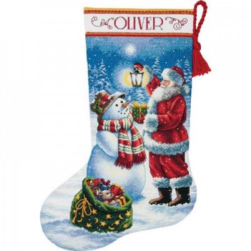 """70-08952 • Набор для вышивания крестом """"Рождественское сияние. Чулок"""" • """"Holiday Glow Stocking"""" DIMENSIONS"""