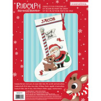 """70-08959 • Набор для вышивания крестом """"Рудольф. Чулок"""" • """"Rudolph Stocking"""" DIMENSIONS"""