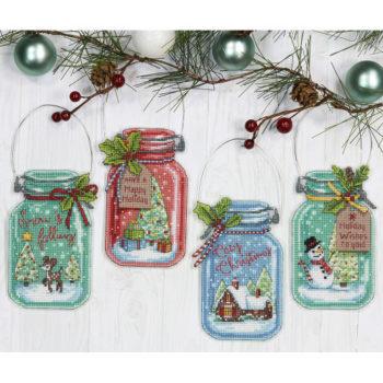 """70-08964 • Набор для вышивания крестом """"Рождественские баночки"""" • """"Christmas Jar Ornaments"""" DIMENSIONS"""