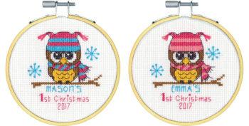 """70-08965 • Набор для вышивания крестом """"Первое Рождество"""" • """"Baby's First Christmas"""" DIMENSIONS"""