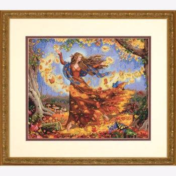 """70-35262 • Набор для вышивания крестом """"Фея осени"""" • """"Fall Fairy"""" DIMENSIONS Gold Collection"""