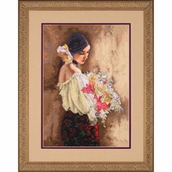 """70-35274 • Набор для вышивания крестом """"Женщина с букетом"""" • """"Woman with Bouquet"""" DIMENSIONS Gold Collection"""