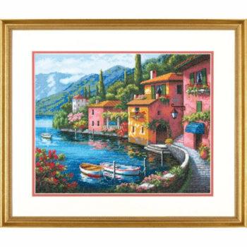 """70-35285 • Набор для вышивания крестом """"Городок у озера"""" • """"Lakeside Village"""" DIMENSIONS Gold Collection"""